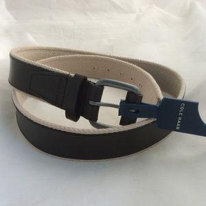 "Cole Haan Dark Brown Leather & Beige Web Belt 40"""